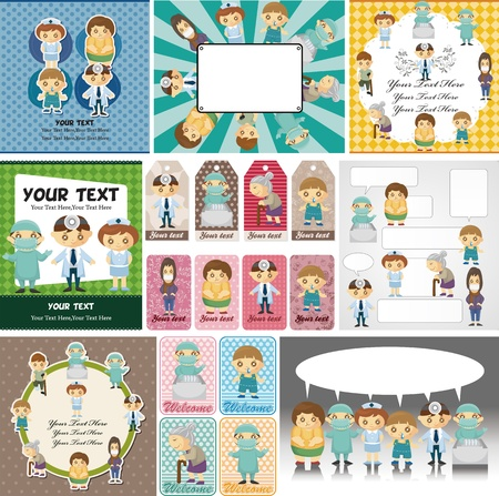 Doctors and Patient people card Stock Vector - 11657532