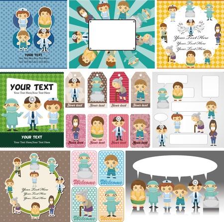 doctor dibujo animado: Los médicos y los pacientes tarjeta de la gente