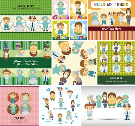 Doctors and Patient people card Vector