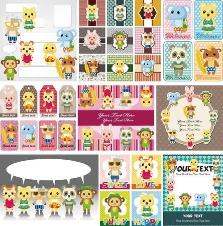 cartoon park: cartoon summer animal card Illustration