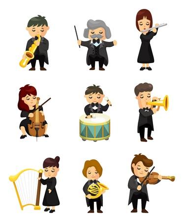 오케스트라 음악 플레이어 일러스트