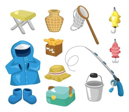 canna pesca: Icone dei cartoni animati di pesca Vettoriali