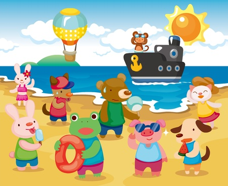 Beach Animal Party Vector