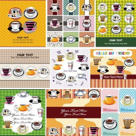 cup cakes: caf� tarjeta Vectores