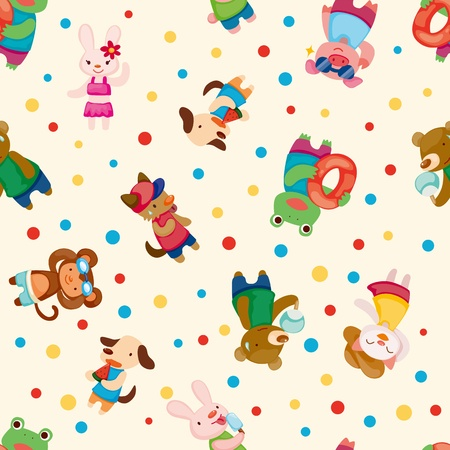 cartoon summer animal seamless pattern Illustration