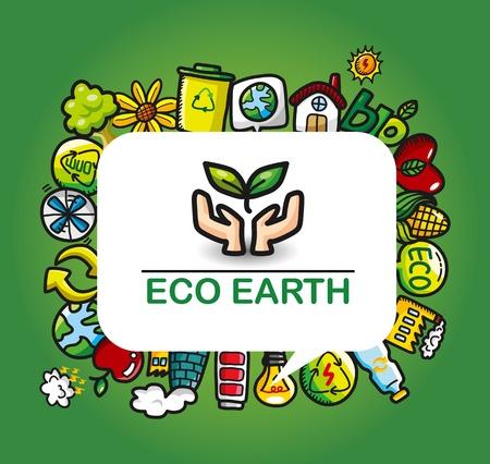 Green Power eco card  Vector