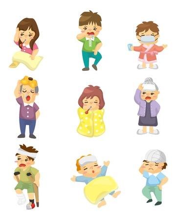 Personaje de dibujos animados Enfermo Ilustración de vector