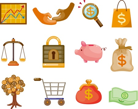 cartoon Finance & Money Icon set  Vector