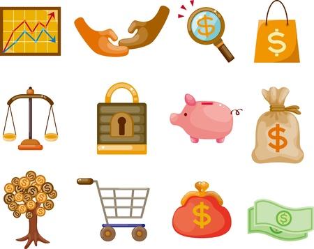 de dibujos animados de Finanzas y Dinero Icono conjunto