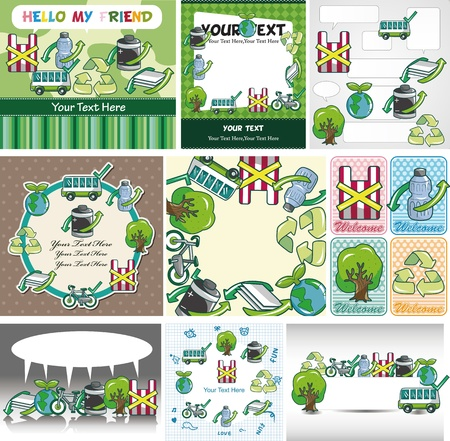 recycling plant: cartoon eco card Illustration