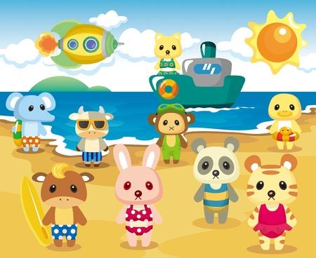 Beach Animal Party Vector