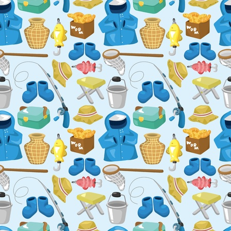 cartoon Fishing seamless pattern