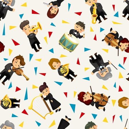 fife: orchestra music player seamless pattern Illustration
