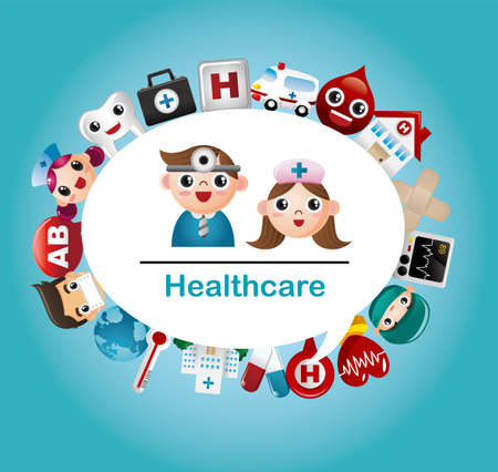 hospital cartoon: Medico e Ospedale carta Vettoriali