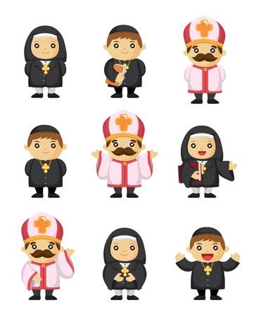 pope: cartoon priest icon