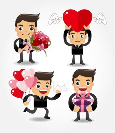 office romance: valentine love people Illustration