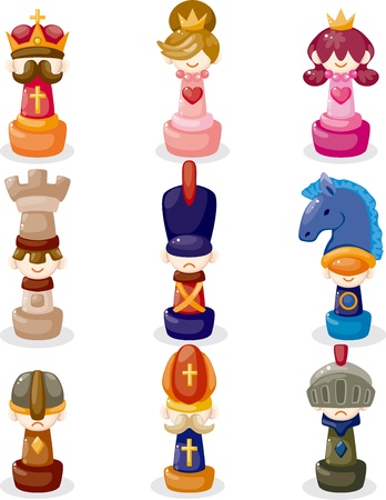 cartoon chess isolated Illustration