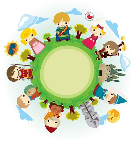cartoon Medieval people around world Vector