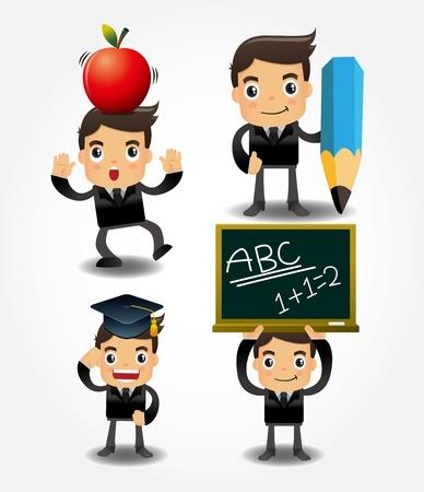 worker cartoon: volver a la escuela el icono