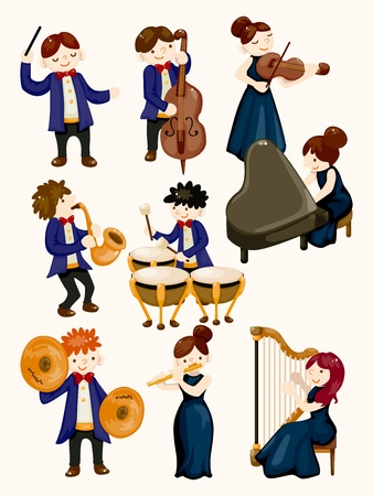 estafette stokje: orkest muziekspeler Stock Illustratie