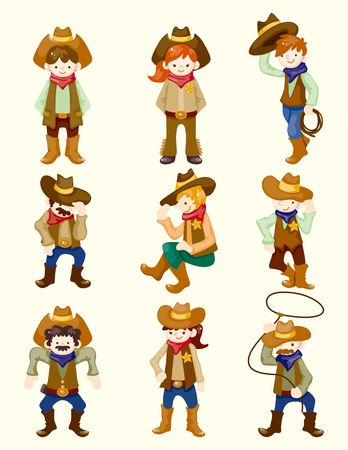 bucking horse: cartoon cowboy icon Illustration