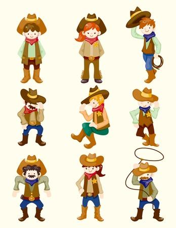 vaquero: dibujos animados icono del vaquero Vectores