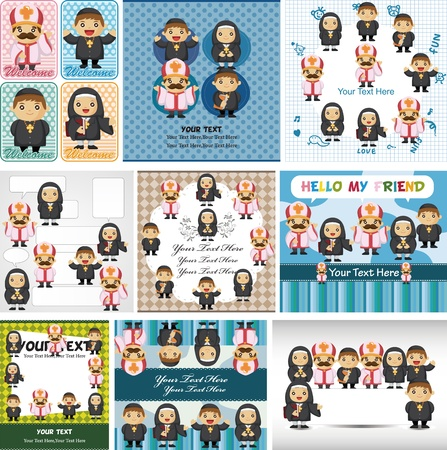 cartoon Priest and nun card Vector