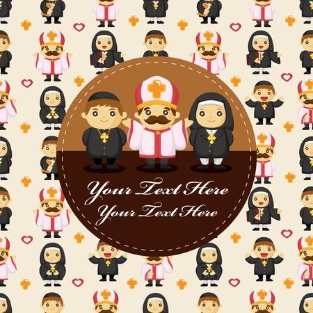 catholicism: cartoon Priest and nun card Illustration