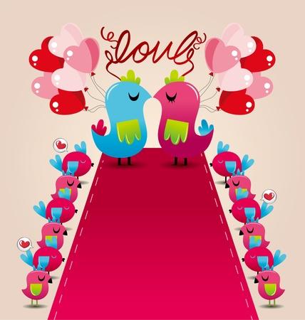 bird love wedding card Vector