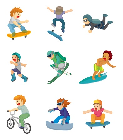 cartoon Extreme sport icon Vector