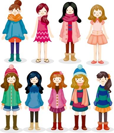 ni�a: dibujos animados icono de chica Vectores
