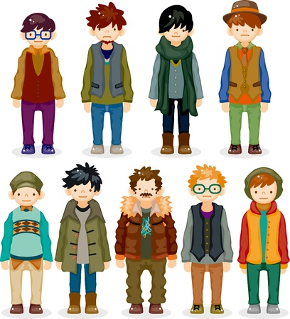 fashion boy: cartoon charming young man icon Illustration