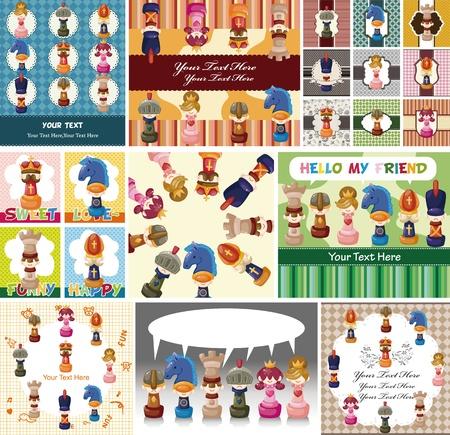 chess knight: de dibujos animados de tarjetas de ajedrez