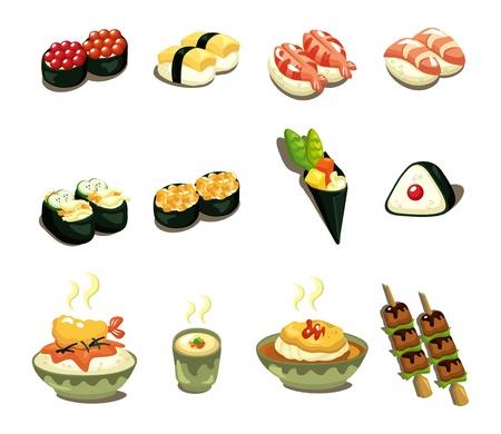 만화 일본 음식 아이콘을 설정 일러스트