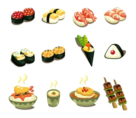 japanese sake: La comida japonesa de dibujos animados conjunto de iconos
