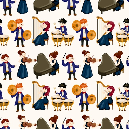 orchestra music player seamless pattern Vector