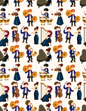 orchestra music player seamless pattern Illustration