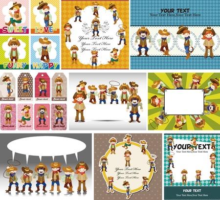 vaquero: dibujos animados de tarjetas de vaquero