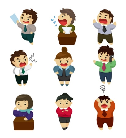unhappy office worker set Stock Illustratie