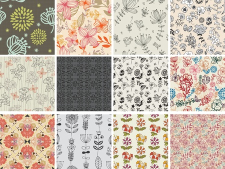set of different flowers seamless pattern Vector