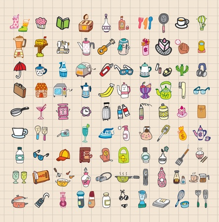 hand draw home stuff set Vector