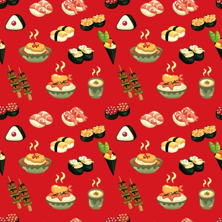 seamless Japanese food pattern Vector