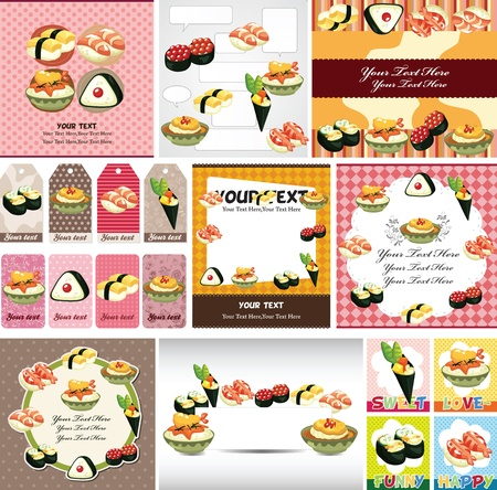 Japanese food menu card Vector