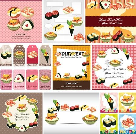 Japanese food menu card Stock Vector - 12236496