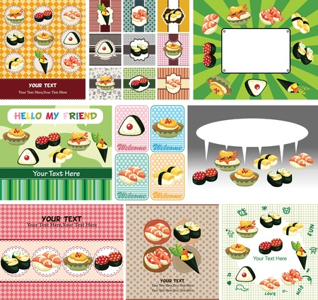 Japanese food menu card Stock Vector - 12236497