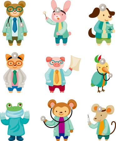 cartoon animal doctor Vector