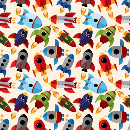 seamless spaceship pattern  Vector