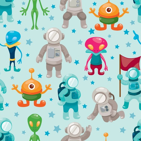 spaceman and ufo seamless pattern Vector