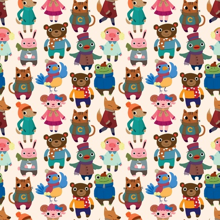 winter animal seamless pattern Vector