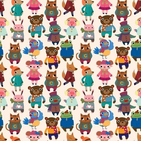 cute animals: winter animal seamless pattern Illustration